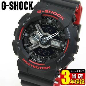 レビュー3年保証 CASIO カシオ G-SHOCK ジーショック GA-110HR-1A 海外モデル メンズ 腕時計 黒 ブラック 赤 レッド ウレタン バンド 逆輸入|tokeiten