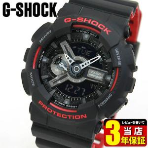 CASIO カシオ G-SHOCK ジーショック GA-110HR-1A 海外モデル メンズ 腕時計 黒 ブラック 赤 レッド ウレタン バンド 逆輸入|tokeiten