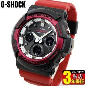 G-SHOCK Gショック CASIO カシオ タフソーラー 電波 GAW-100RB-1A アナログ デジタル メンズ 腕時計 海外モデル 黒 ブラック 白 ホワイト 赤 レッド ウレタン|tokeiten