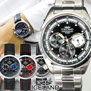 ポイント最大21倍 特価セール クロノグラフ メンズ 腕時計 レザー 人気 アイスランド IL4174|tokeiten