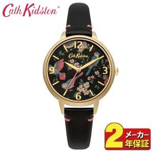先着300円OFFクーポン 送料無料 Cath Kidston キャスキッドソン CKL001BG アナログ レディース 腕時計 正規品 黒 ブラック 金 ゴールド 鳥 花 革ベルト レザー|tokeiten