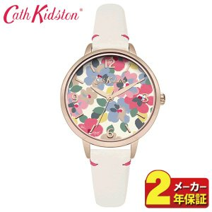 送料無料 Cath Kidston キャスキッドソン CKL031W アナログ レディース 腕時計 海外モデル 白 ホワイト 黄ピンクゴールド 花柄 革ベルト レザー|tokeiten