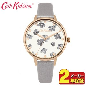 送料無料 Cath Kidston キャスキッドソン CKL053ERG アナログ レディース 腕時計 海外モデル 白 ホワイト グレー ピンクゴールド 花柄 革ベルト レザー|tokeiten