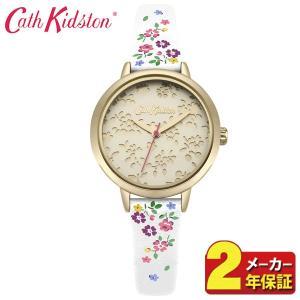 送料無料 Cath Kidston キャスキッドソン CKL055W アナログ レディース 腕時計 海外モデル 白 ホワイト 金 ゴールド 花柄 革ベルト レザー|tokeiten