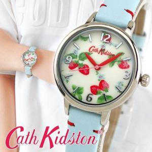 Cath Kidston キャスキッドソン CKL006WUS アナログ レディース 腕時計 海外モデル ブルー ストロベリー 31mm 革ベルト レザー|tokeiten