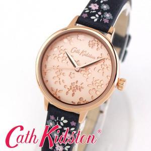 ポイント最大17倍 Cath Kidston キャスキッドソン 花柄 31mm レディース 腕時計 青 ネイビー ピンクゴールド  ローズゴールド 革ベルト レザー CKL055URG 正規品|腕時計 メンズ アクセの加藤時計店