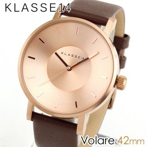 Klasse14 クラス14 KLASSE14 VO14RG002M アナログ メンズ レディース 腕時計 茶 ブラウン 金 ピンクゴールド 革バンド レザー 42mm|tokeiten