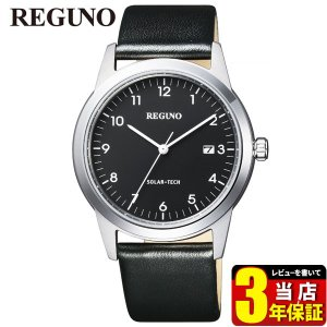 シチズン レグノ ソーラーテック KM3-116-50 CITIZEN REGUNO 国内正規品 腕時計 メンズ 40代 ビジネス カレンダー 黒 ブラック シルバー 革ベルト レザー|tokeiten