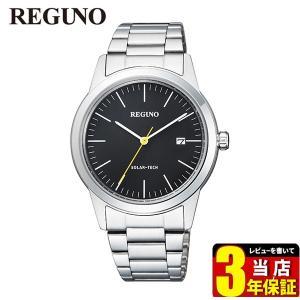 シチズン レグノ ソーラーテック KM3-116-53 CITIZEN REGUNO 国内正規品 腕時計 メンズ 40代 ビジネス カレンダー シルバー ブラック メタルバンド|tokeiten