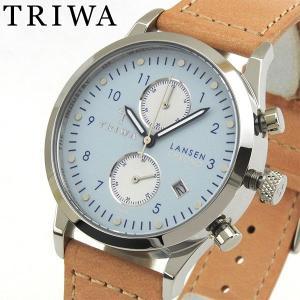 TRIWA トリワ クロノグラフ メンズ レディース 腕時計 ユニセックス LANSEN ランセン 青 ブルー ライトブラウン LCST110-SC010612|tokeiten