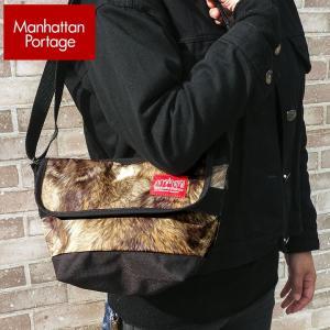 Manhattan Portage マンハッタンポーテージ メッセンジャーバッグ メンズ レディース 男女兼用 ショルダーバッグ ファー 茶 ブラウン MP1603 MNL BRN|tokeiten