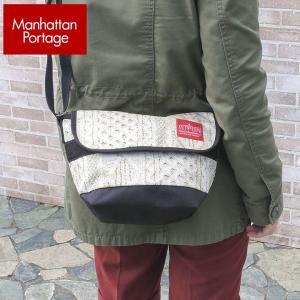 Manhattan Portage マンハッタンポーテージ メッセンジャーバッグ メンズ レディース 男女兼用 ショルダーバッグ ニット 白 ホワイト MP1603 MNL WHT|tokeiten