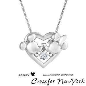 Crossfor Newyork クロスフォーニューヨーク NDP-003 クリスマス限定 Disney ディズニー ミッキー ミニー ハート ネックレス シルバー ペンダント レディース|tokeiten