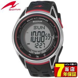 25日から最大31倍 SEIKO セイコー SOMA ソーマ ソーラー NS24001 国内正規品 デジタル メンズ 男性用 腕時計 黒 ブラック 赤 レッド ウレタン バンド|tokeiten