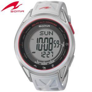 25日から最大31倍 SEIKO セイコー SOMA ソーマ ソーラー NS24703 国内正規品 デジタル メンズ 男性用 腕時計 白 ホワイト 赤 レッド ウレタン バンド|tokeiten