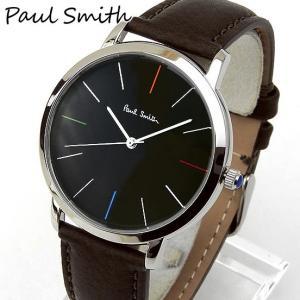 paulsmithポールスミス メンズ 腕時計 時計 黒 ブラック 茶 ダークブラウン 革バンド レザー ベルト アナログ カジュアル ビジネス p10052|tokeiten