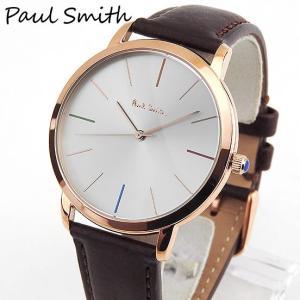 PAULSMITHポールスミス メンズ 腕時計 時計 シルバー 茶 ブラウン 金 ピンクゴールド 革バンド レザー ベルト アナログ カジュアル ビジネス P10053 海外モデル|tokeiten