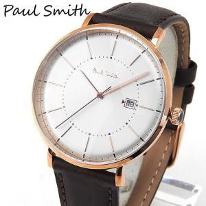 PAULSMITHポールスミス メンズ 腕時計時計 ウォッチ シルバー 茶 ブラウン 金 ピンクゴールド 革バンド レザー ベルト ビジネス スーツ アナログ P10082|tokeiten