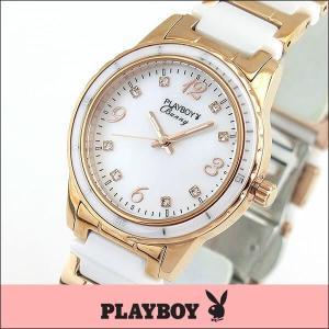 プレイボーイ・バニー PLAYBOY BUNNY アナログ レディース 腕時計 ウォッチ 白 ホワイト 金 ピンクゴールド PB001PWH|tokeiten