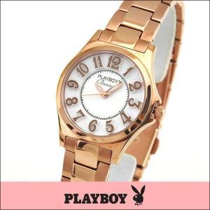 プレイボーイ・バニー PLAYBOY BUNNY アナログ レディース 腕時計 ウォッチ 白 ホワイト 金 ピンクゴールド PB002PWH|tokeiten