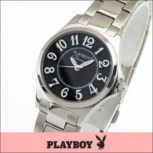プレイボーイ・バニー PLAYBOY BUNNY アナログ レディース 腕時計 ウォッチ 黒 ブラック 銀 シルバー PB002SBK|tokeiten
