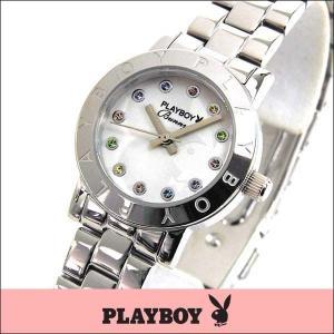 プレイボーイ・バニー PLAYBOY BUNNY アナログ レディース 腕時計 ウォッチ 白 ホワイト 銀 シルバー PB003SWH|tokeiten