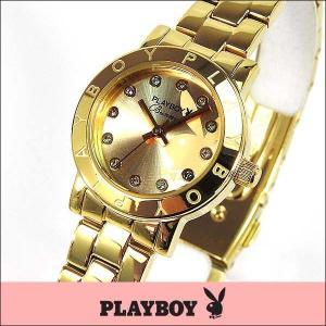 プレイボーイ・バニー PLAYBOY BUNNY アナログ レディース 腕時計 ウォッチ 金 ゴールド PB003YCH|tokeiten