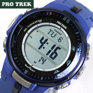 カシオ プロトレック レディース メンズ 腕時計 PRW-3000-2B 海外モデル ブルー ソーラー電波 方位・気圧・高度計 アウトドア|tokeiten