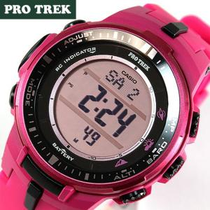 BOX訳あり カシオ プロトレック レディース メンズ 腕時計 PRW-3000-4B 海外モデル ピンク ソーラー電波 方位・気圧・高度計 アウトドア|tokeiten