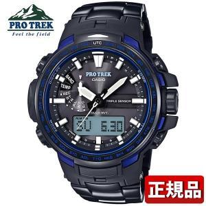 カシオ プロトレック タフソーラー 電波時計 PRW-6100YT-1BJF メンズ 腕時計 多機能 デジタル 黒 ブラック 青 ブルー 国内正規品|tokeiten