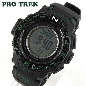 カシオ PROTREK プロトレック タフソーラー電波時計 RMシリーズ PRW-S3500-1 メンズ 腕時計 多機能 黒 ブラック グリーン 海外モデル|tokeiten