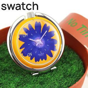 専用ケース訳あり Swatch スウォッチ FLOWER POWER フラワーパワー PUJ101 置時計 スタンド 花柄 オレンジ パープル 海外モデル|tokeiten