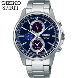 レビュー7年保証 セイコー スピリット 腕時計 SEIKO SPIRIT メンズ ソーラー クロノグラフ SBPJ003 国内正規品 青 ネイビー|tokeiten