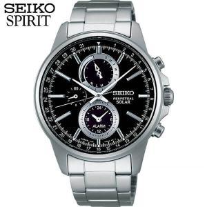レビュー7年保証 セイコー スピリット 腕時計 SEIKO SPIRIT メンズ ソーラー クロノグラフ SBPJ005 国内正規品 黒 ブラック|tokeiten