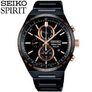 ポイント最大27倍 セイコー スピリット スマート 腕時計 SEIKO SPIRIT SMART メンズ ソーラー クロノグラフ SBPJ039 国内正規品 ブラック ピンクゴールド|tokeiten