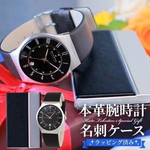 SKAGEN スカーゲン 233XXLSLB カードケース 名刺ケース 2点セット 腕時計 時計 北欧デザイン レザーベルト メンズ 海外モデル ブラック 黒|tokeiten