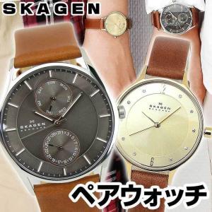 SKAGEN スカーゲン SKW6086 SKW2147 ペアウォッチ アナログ メンズ レディース 海外モデル 茶色 ブラウン 金 ゴールド 革ベルト レザー|tokeiten
