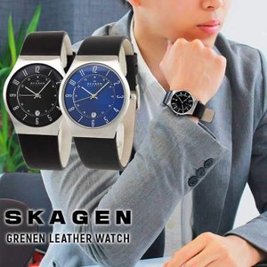 BOX訳あり SKAGEN スカーゲン メンズ 腕時計 ビジネス スーツ 日付カレンダー 革バンド レザー ブラック ネイビー 海外モデル 233XXLSLB 233XXLSLN|tokeiten