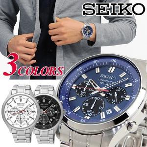 SEIKO セイコー クロノグラフ カレンダー アナログ メンズ 腕時計 海外モデル 逆輸入 黒 ブラック 白 ホワイト 青 ネイビー|tokeiten