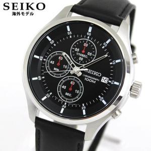SEIKO セイコー 逆輸入 海外モデル SKS539P2 アナログ メンズ 腕時計 ウォッチ 黒 ブラック 革バンド レザー|tokeiten