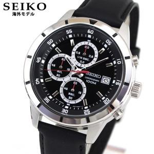 SEIKO セイコー 逆輸入 海外モデル SKS571P1 アナログ メンズ 腕時計 ウォッチ 黒 ブラック 銀 シルバー 革バンド レザー ビジネス スーツ|tokeiten