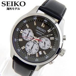 SEIKO セイコー SKS595P1 アナログ メンズ 腕時計 海外モデル 黒 ブラック グレー 革ベルト レザークオーツ クロノグラフ|tokeiten