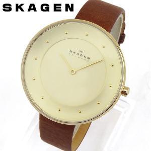 訳ありB級品 SKAGEN スカーゲン レディース 腕時計 茶 ブラウン 金 ゴールド 革バンド レザー アナログ SKW2138 海外モデル ギフト|tokeiten