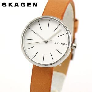 SKAGEN スカーゲン SKW2594 シグネチャー レディース 腕時計 海外モデル 茶 ブラウン 銀 シルバー 革ベルト レザー|tokeiten