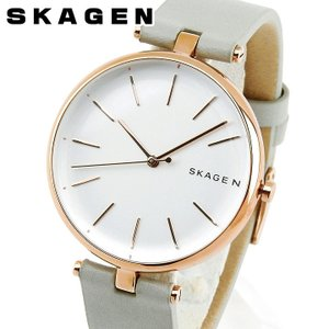SKAGEN スカーゲン SKW2710 シグネチャー レディース 腕時計 海外モデル ピンクゴールド ローズゴールド グレー 革ベルト レザー|tokeiten