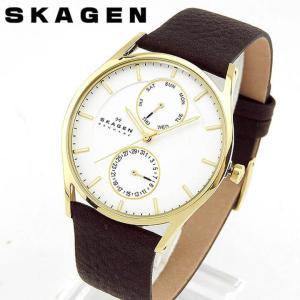 SKAGEN スカーゲン SKW6066 海外モデル アナログ メンズ 男性用 腕時計 ウォッチ 白 ホワイト 茶 ブラウン 革バンド レザー|tokeiten