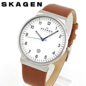 SKAGEN スカーゲン SKW6082 海外モデル アナログ メンズ 腕時計 白 ホワイト 茶 ブラウン 革バンド レザー|tokeiten
