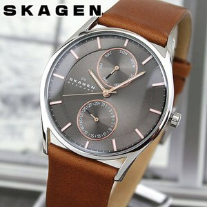 SKAGEN スカーゲン SKW6086 海外モデル メンズ 腕時計 ウォッチ 革バンド レザー アナログ グレー 茶 ブラウン|tokeiten