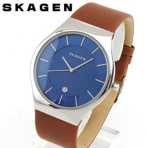 SKAGEN スカーゲン SKW6160 海外モデル アナログ メンズ 腕時計 ウォッチ 青 ネイビー 茶 ブラウン 革バンド レザー|tokeiten