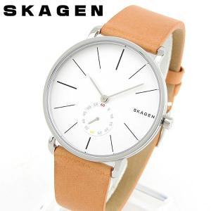 SKAGEN スカーゲン SKW6215 海外モデル メンズ 男性用 腕時計 白 ホワイト 茶 ブラウン 革バンド レザー tokeiten